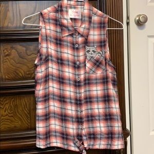 Plaid sleeveless button down shirt with raccoon